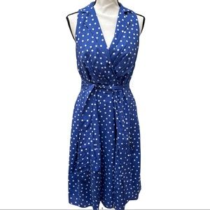 Black label by Evan-picone navy blue and white Polk dot fit and flare dress sz 6